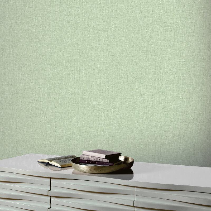 Arthouse Linen Texture Green Wallpaper - 902303
