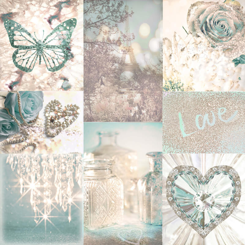 Arthouse Love Paris Collage Teal Glitter Wallpaper - 691108