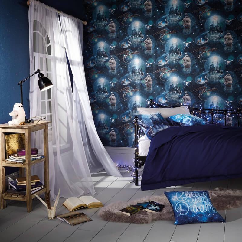 Arthouse Magical Kingdom Blue Glitter Wallpaper - 696100