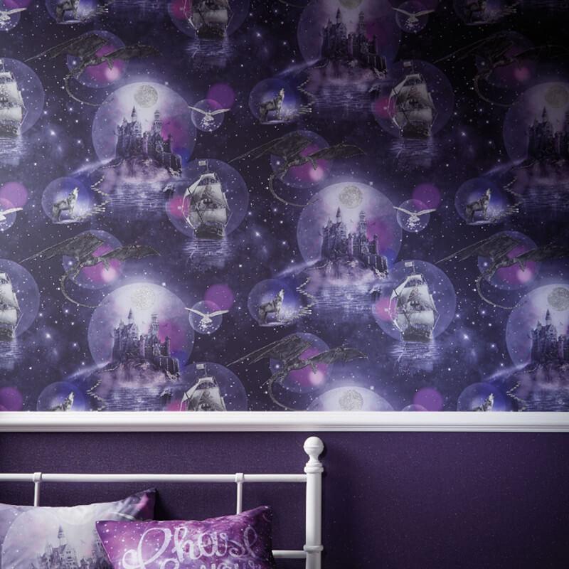 Arthouse Magical Kingdom Purple Glitter Wallpaper - 696101