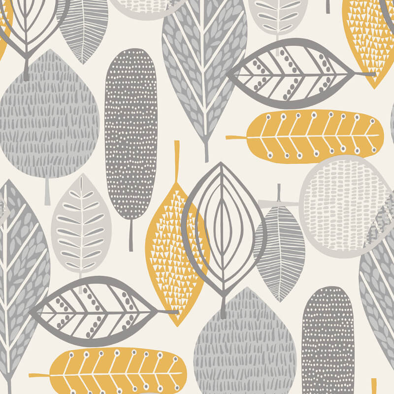 Arthouse Malmo Retro Leaf Grey/Yellow Wallpaper - 902300