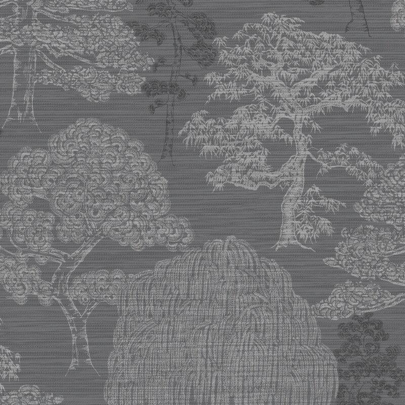 Arthouse Meili Trees Gunmetal Silver Wallpaper - 293007