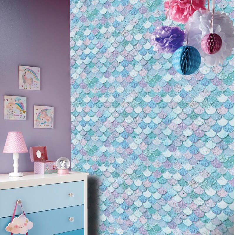 Arthouse Mermazing Scales Ice Blue Glitter Wallpaper - 698305