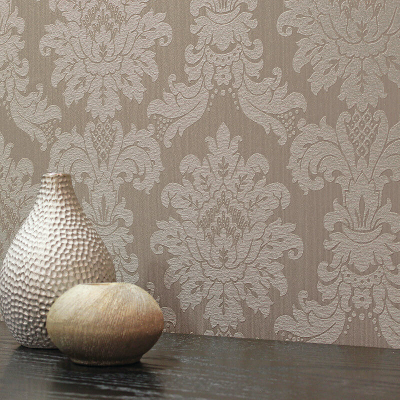 Arthouse Messina Damask Wallpaper in Taupe - 261003
