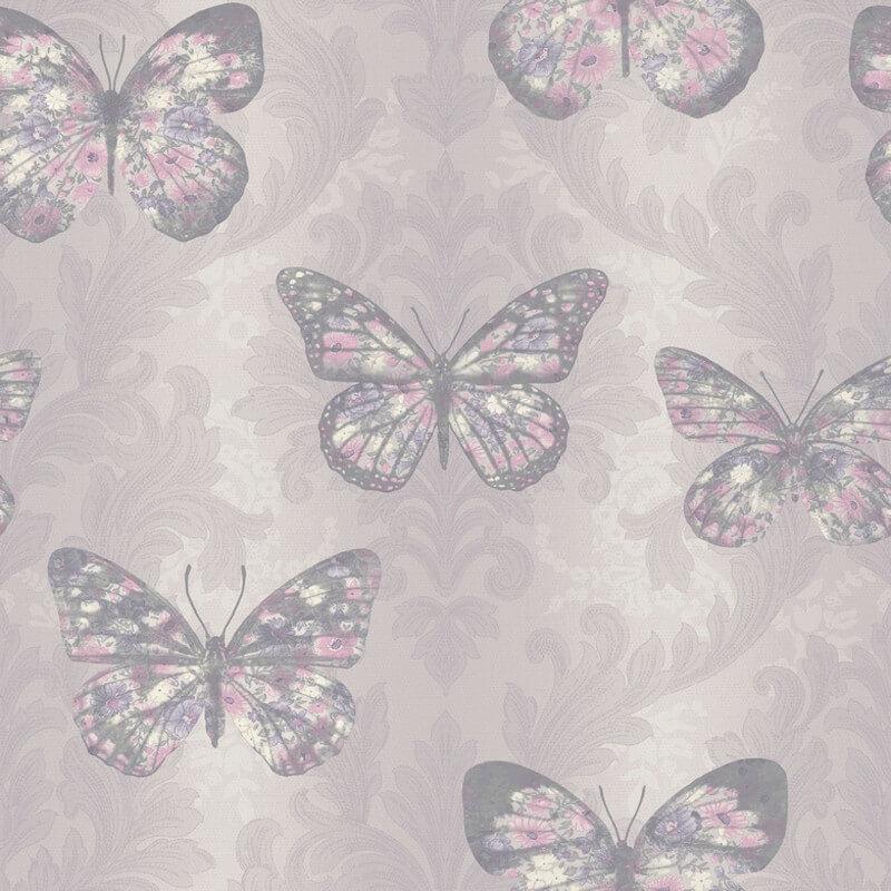 Arthouse Midsummer Butterfly Glitter Wallpaper in Heather - 661204