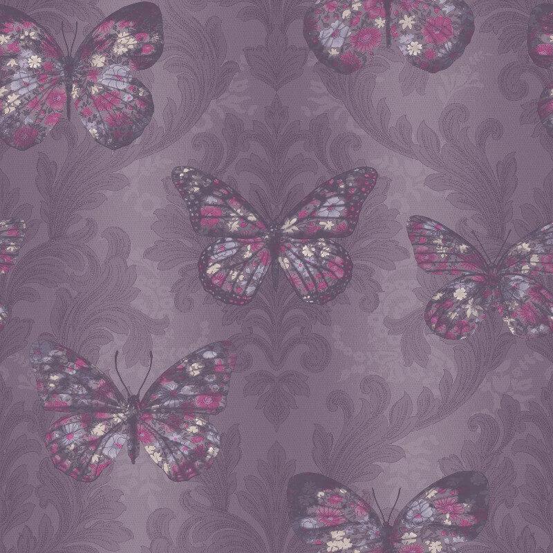 Arthouse Midsummer Butterfly Glitter Wallpaper in Plum - 661205
