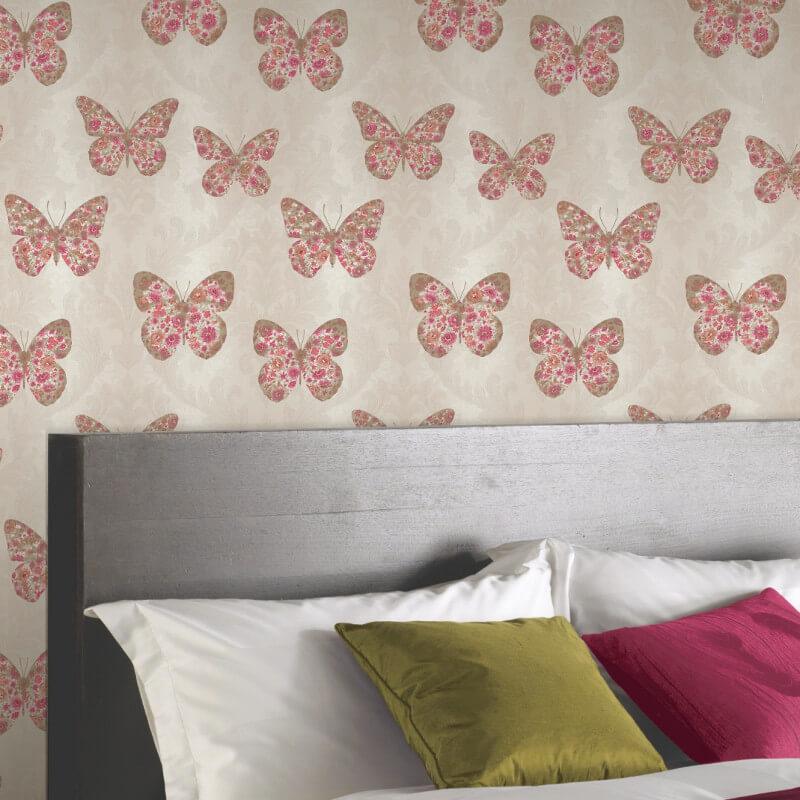 Arthouse Midsummer Butterfly Glitter Wallpaper in Red - 661202