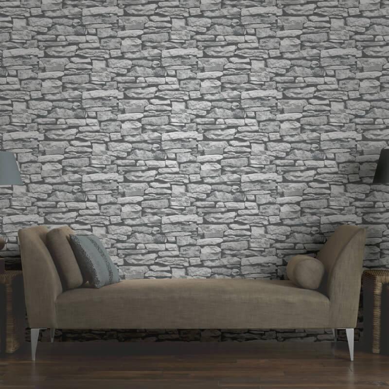 Arthouse Moroccan Stone Wallpaper in White 623009