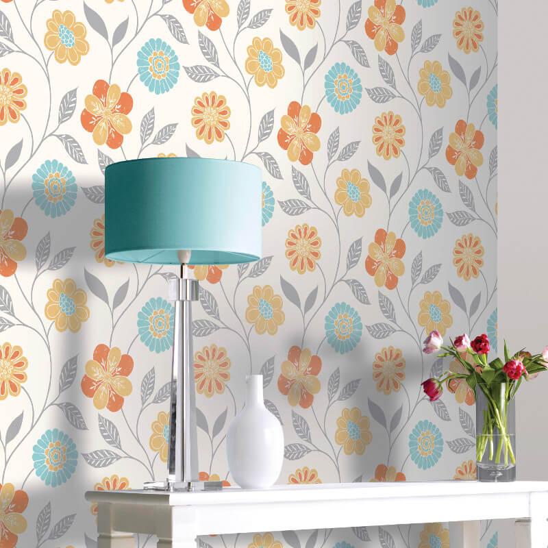 Arthouse Opera Retro Floral Trail Multi Wallpaper - 699201