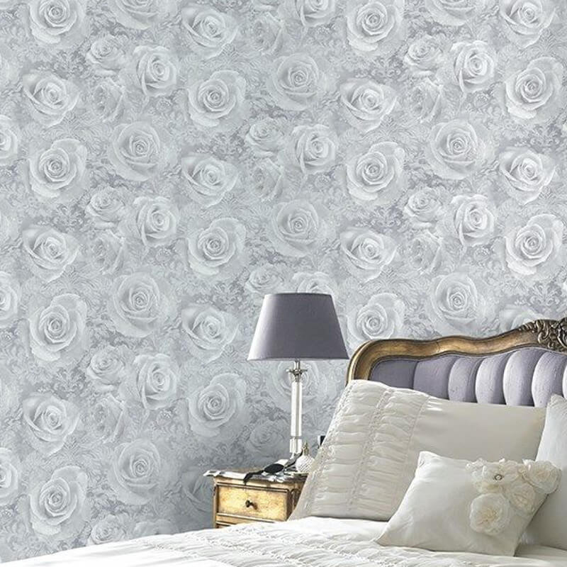 Arthouse Opera Reverie Floral Silver Wallpaper - 623303