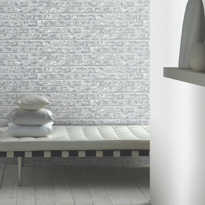 Arthouse Opera Rustic Brick Grey Wallpaper - 889606