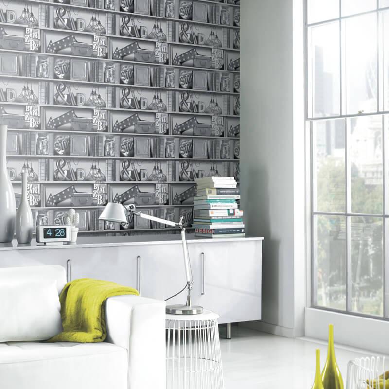 Arthouse Opera Upcycle Bookcase Multi Wallpaper - 694200