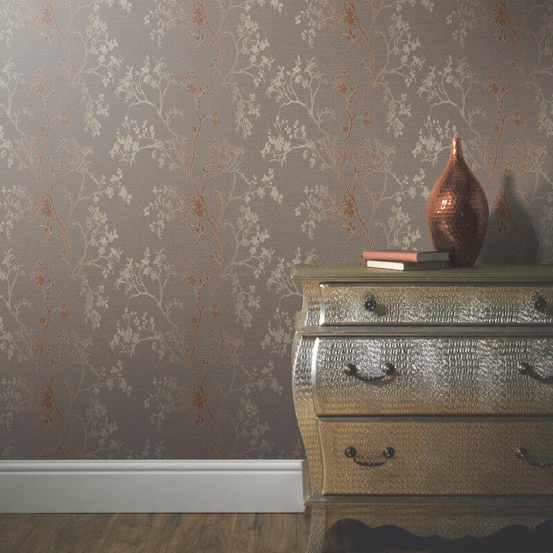 Arthouse Orabella Tree Glitter Wallpaper in Copper - 673400