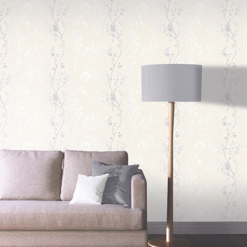Arthouse Orabella Tree Glitter Wallpaper in Pearl - 673402