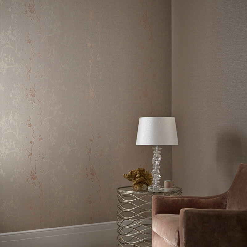 Arthouse Orabella Tree Glitter Wallpaper in Rose Gold - 673403