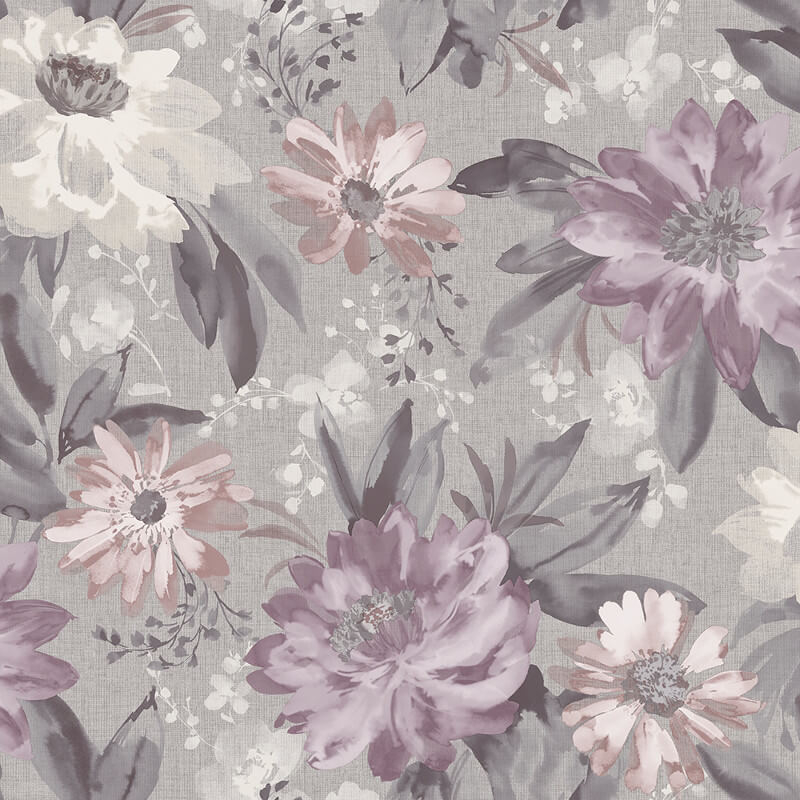 Arthouse Painted Dahlia Floral Heather Wallpaper - 676106