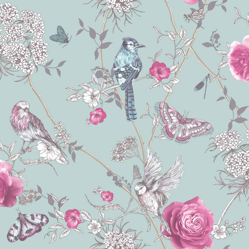 Arthouse Paradise Garden Mint Green Glitter Wallpaper - 692401