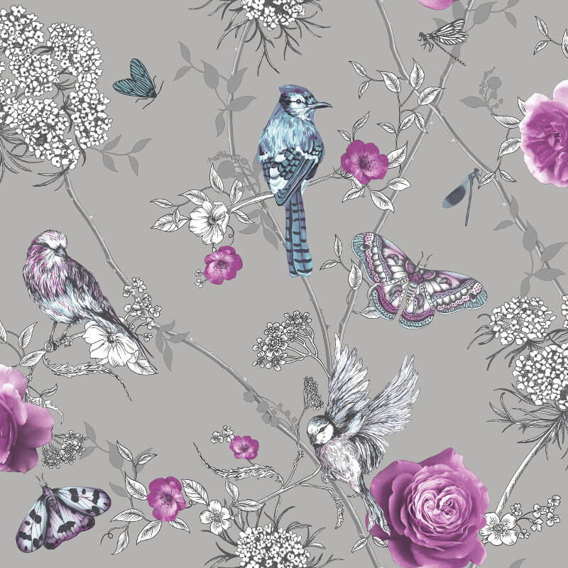Arthouse Paradise Garden Silver Glitter Wallpaper - 692403