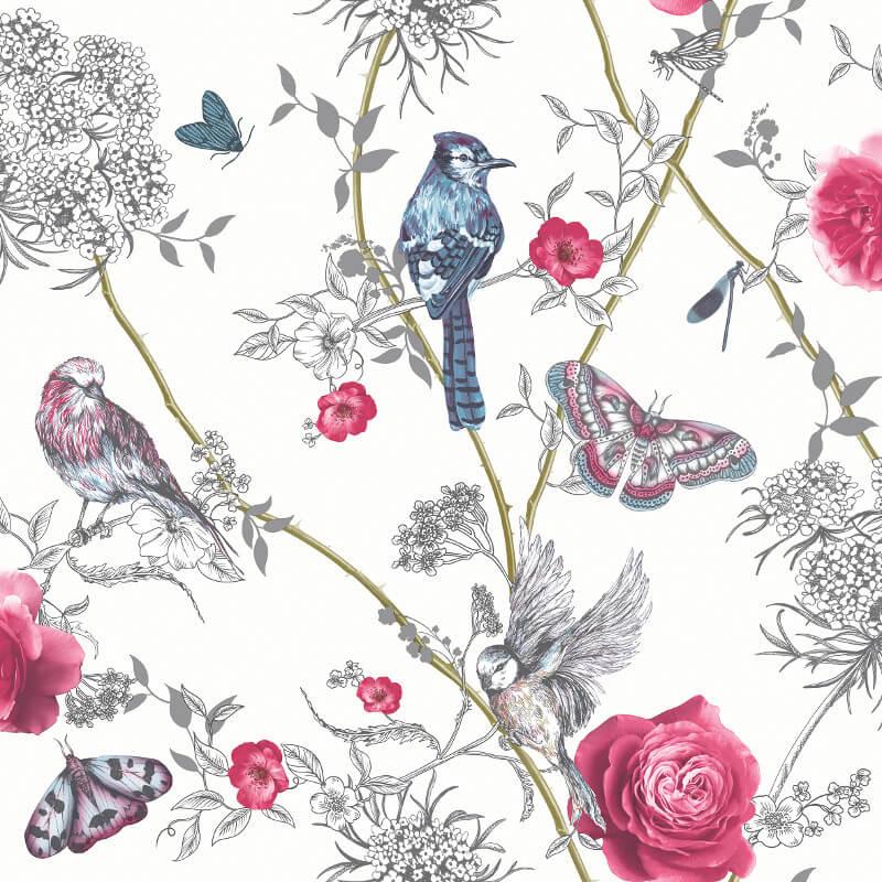 Arthouse Paradise Garden White Multi Glitter Wallpaper - 692405