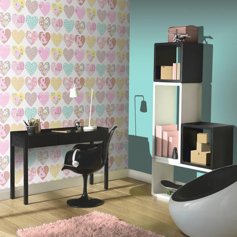 Arthouse Patchworks Hearts and Flower Wallpaper in Pastel - 668500