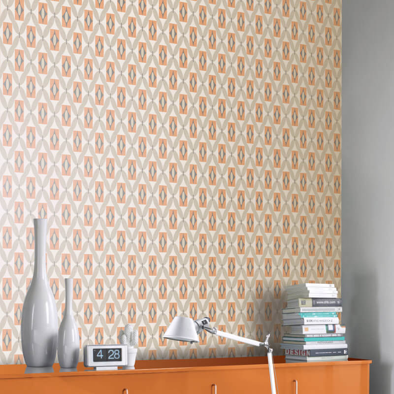 Arthouse Quartz 3D Geometric Orange Wallpaper - 640700