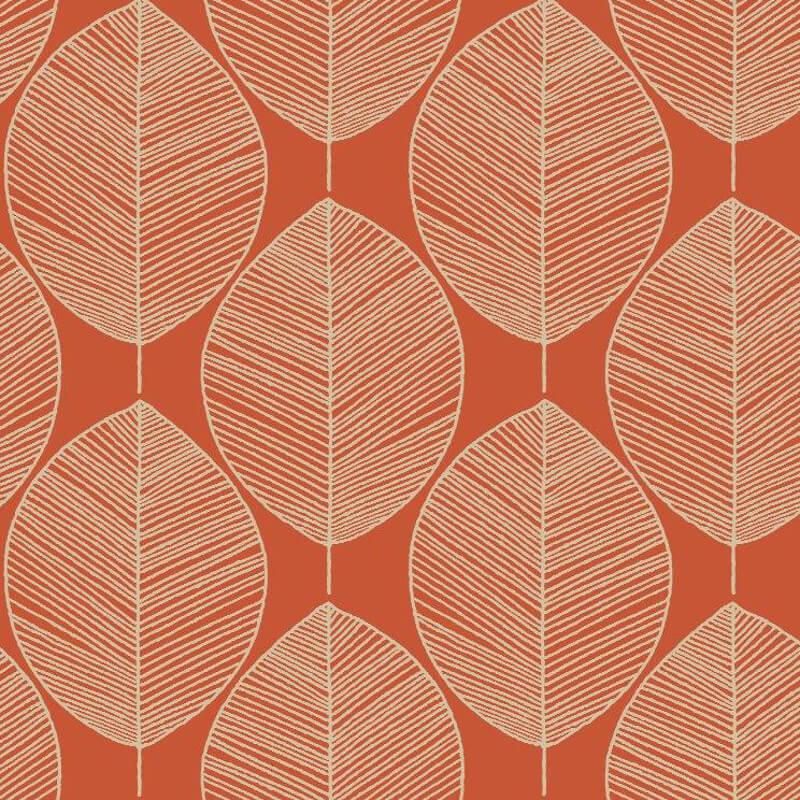 Arthouse Retro Leaf Amber Wallpaper - 408208