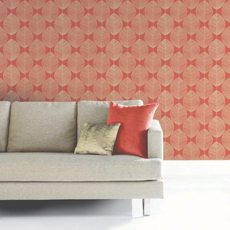 arthouse retro leaf wallpaper in amber 408208. Black Bedroom Furniture Sets. Home Design Ideas