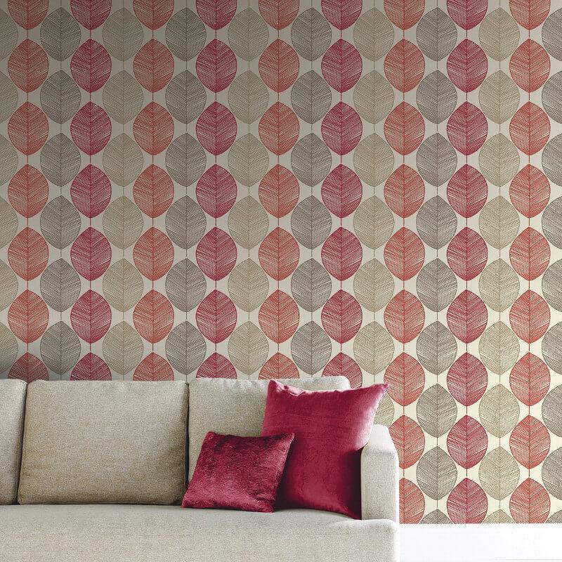 Arthouse Retro Leaf Red/Beige Wallpaper - 408205