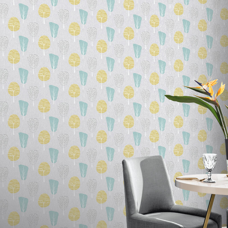 Arthouse retro tree grey teal yellow wallpaper 902401 - Art house wallpaper uk ...