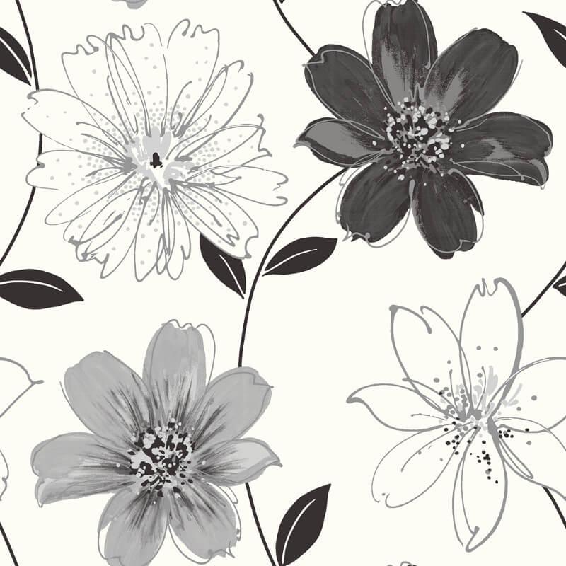 Arthouse Samba Floral Black/White Glitter Wallpaper - 699909