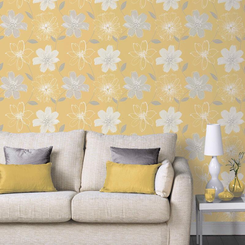 Arthouse Samba Floral Yellow Glitter Wallpaper - 699908