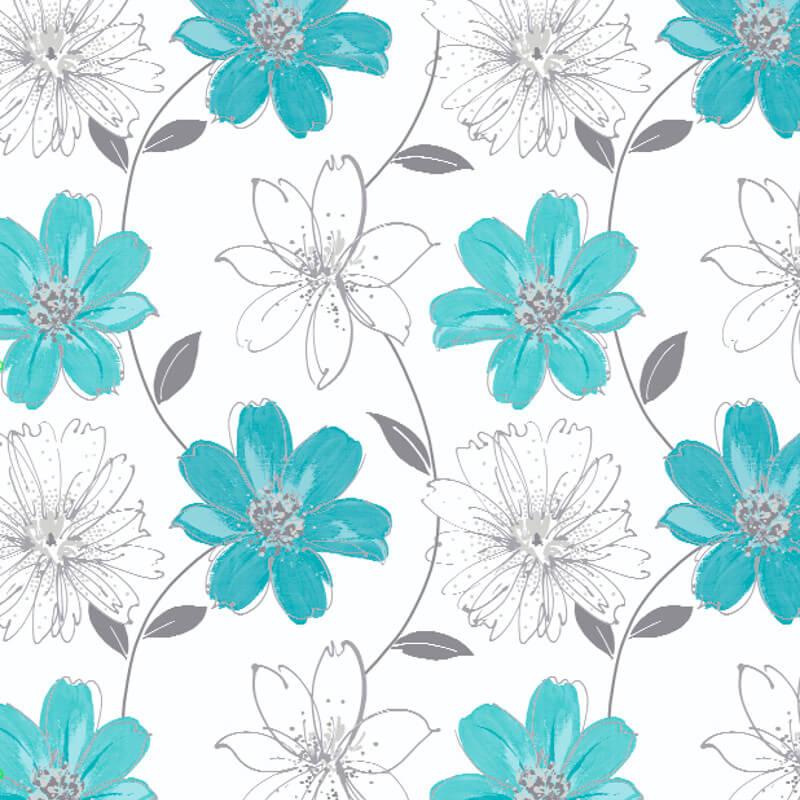 Arthouse Samba Motif Wallpaper in Aqua Blue and Silver - 406009