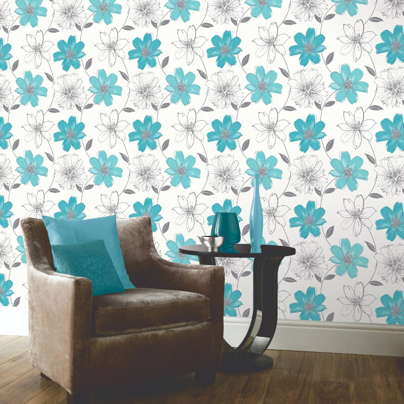 Arthouse samba motif wallpaper in aqua blue and silver 406009 - Art house wallpaper uk ...