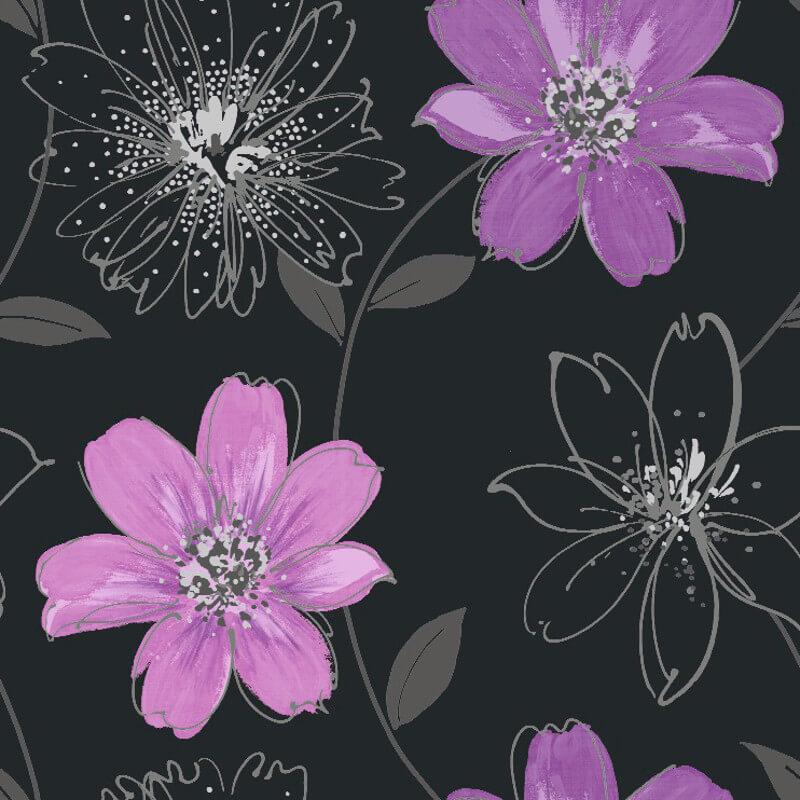 Arthouse samba motif wallpaper in black and purple 406005