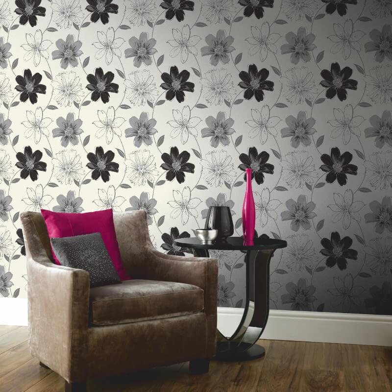 Arthouse Samba Motif Wallpaper in Black and White - 406004