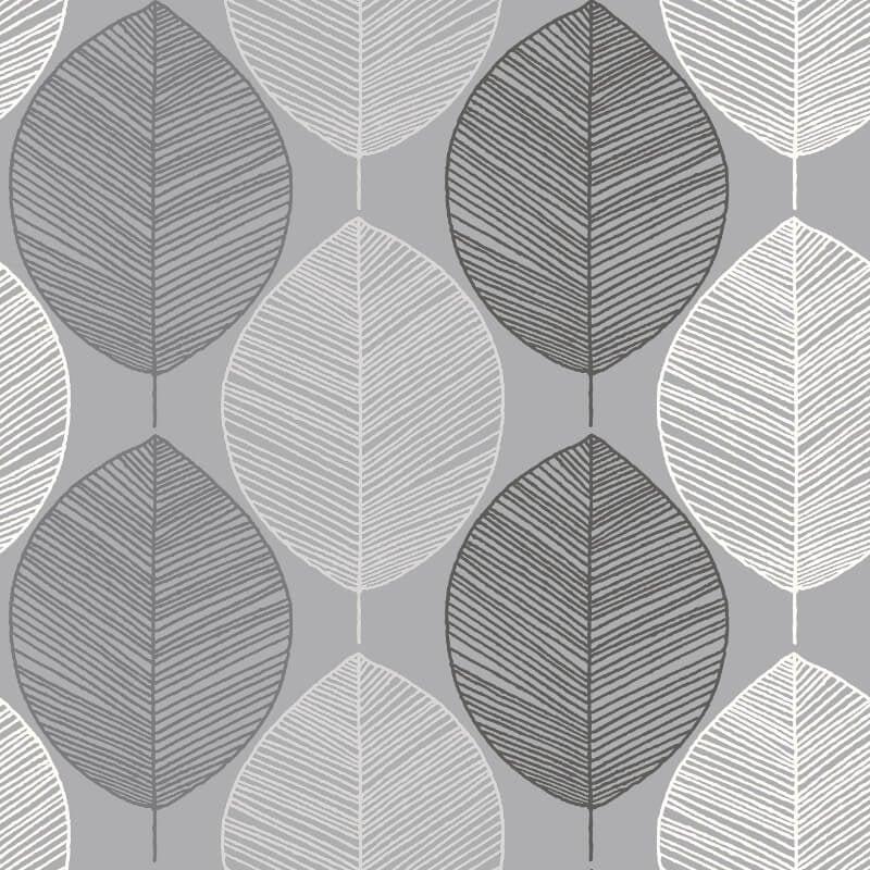 Arthouse Scandi Leaf Mono Glitter Wallpaper - 698400
