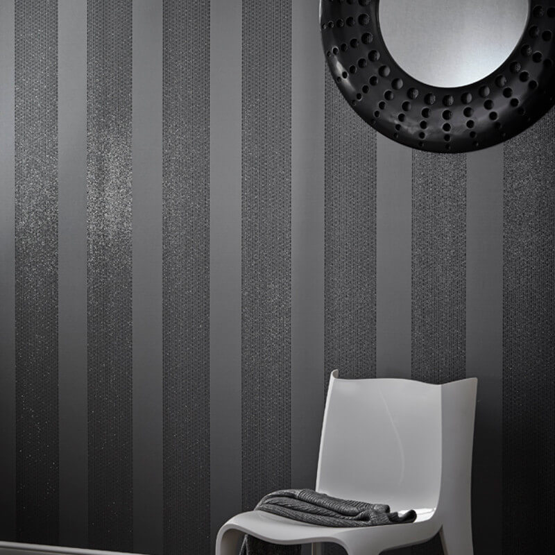 Arthouse Selina Stripe Glitter Wallpaper in Gunmetal - 673501