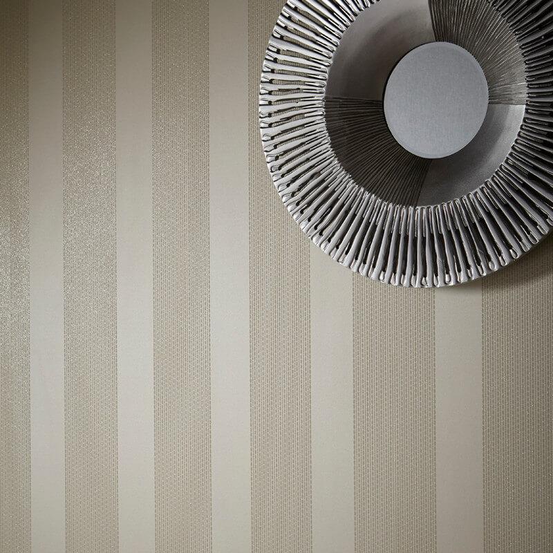 Arthouse Selina Stripe Glitter Wallpaper in Pearl - 673502
