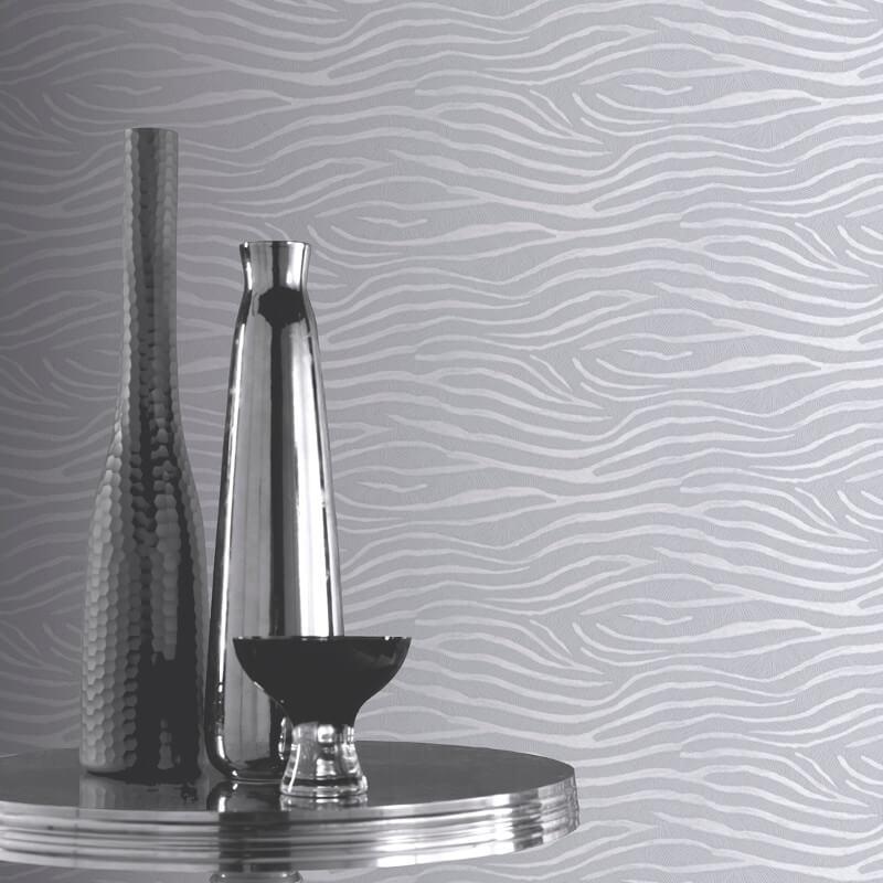 Arthouse Serengeti Nights Zebra Silver Wallpaper - 670301