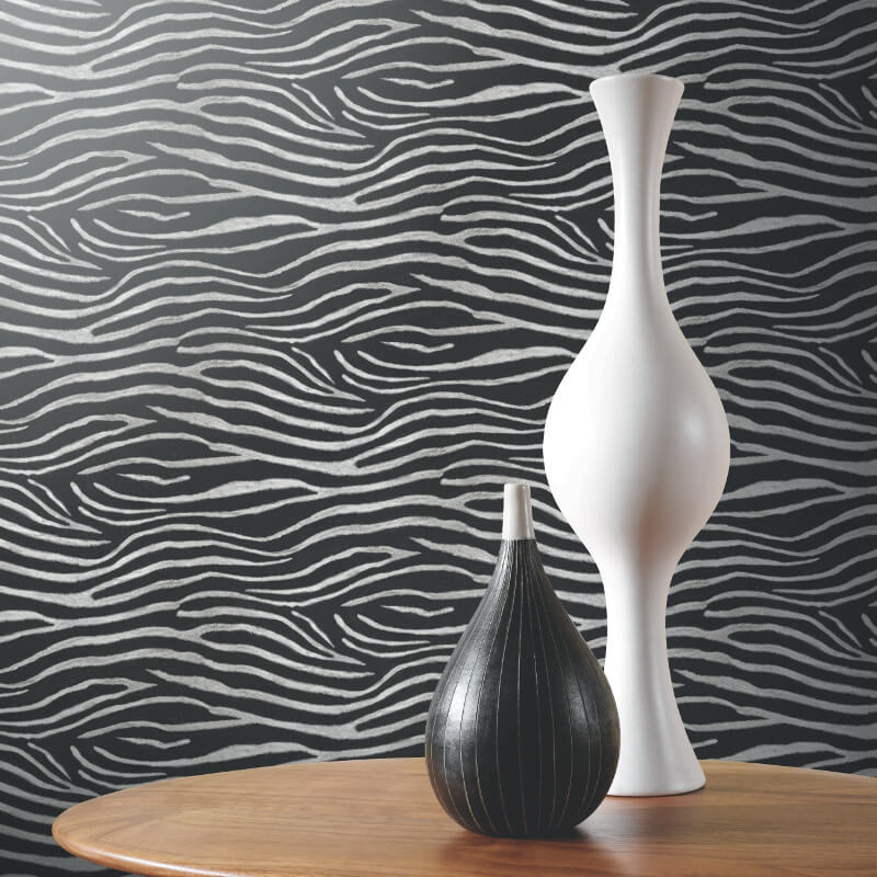 Arthouse Serengeti Nights Zebra Glitter Wallpaper in Black - 670300