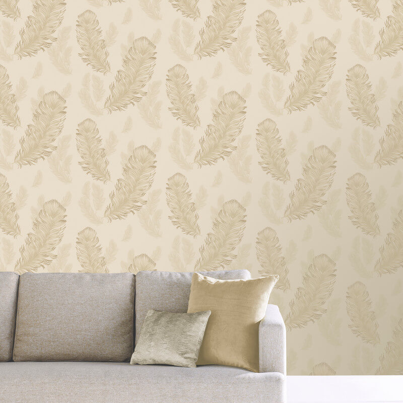 Arthouse Sirius Feather Glitter Wallpaper in Gold - 673601