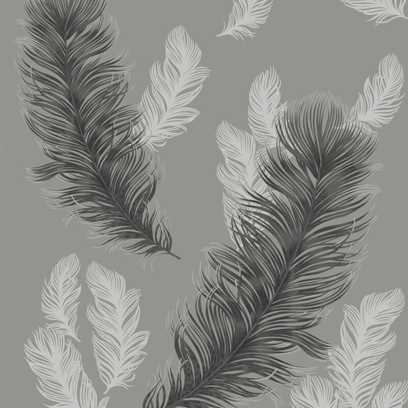 Arthouse Sirius Feather Glitter Wallpaper in Gunmetal - 673602