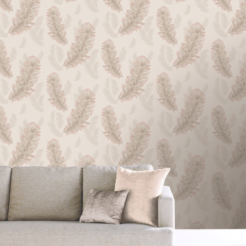 Arthouse Sirius Feather Glitter Wallpaper in Rose Gold - 673600