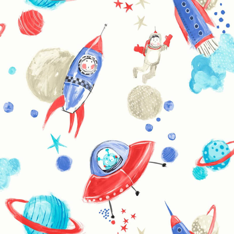 Arthouse Space Man Rocket Glitter Wallpaper in White - 668001