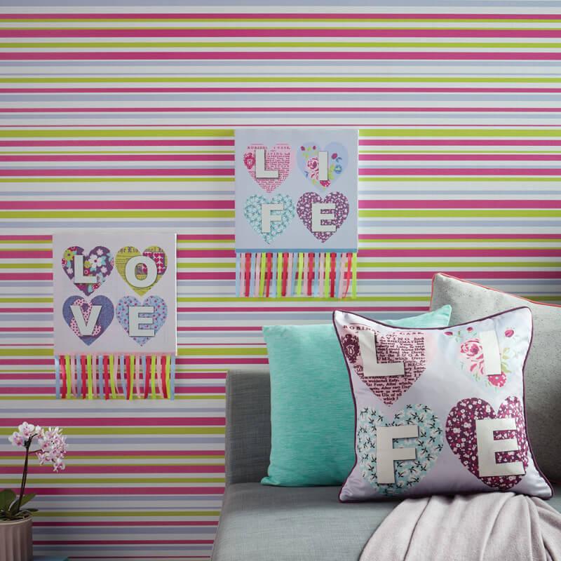 Arthouse Sparkle Stripe Glitter Wallpaper in Purple - 668801