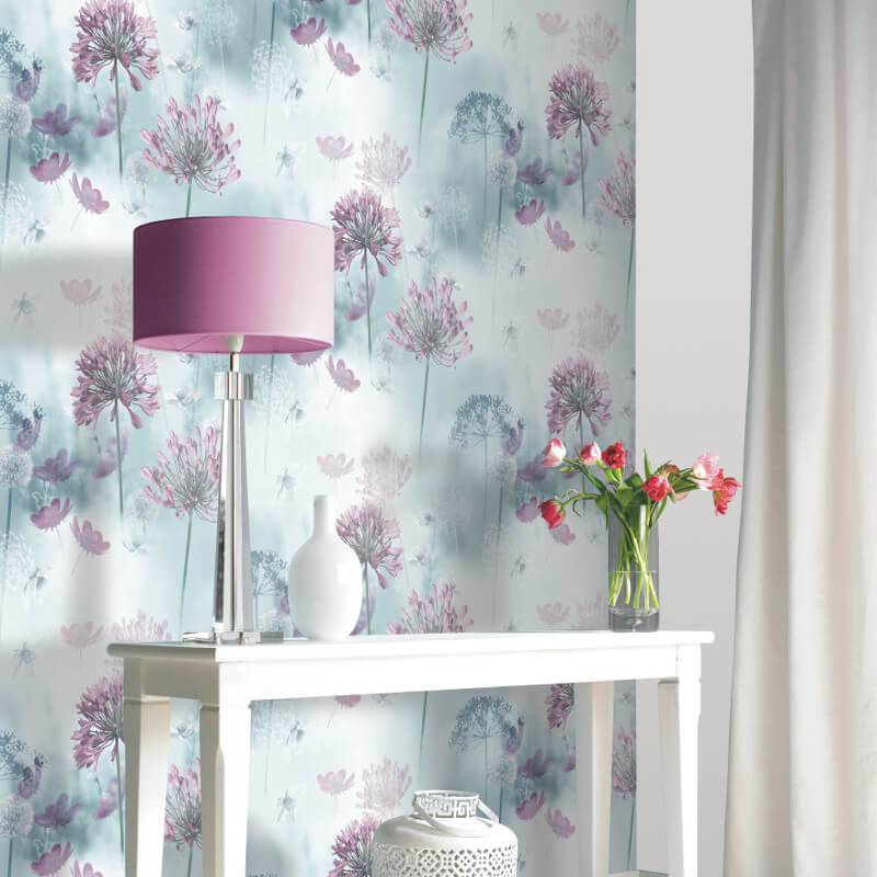 Arthouse Spring Meadow Duck Egg Wallpaper - 697400