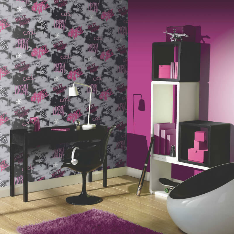 Arthouse Street Wise Graffiti Wallpaper in Pink, Silver and Black - 534104