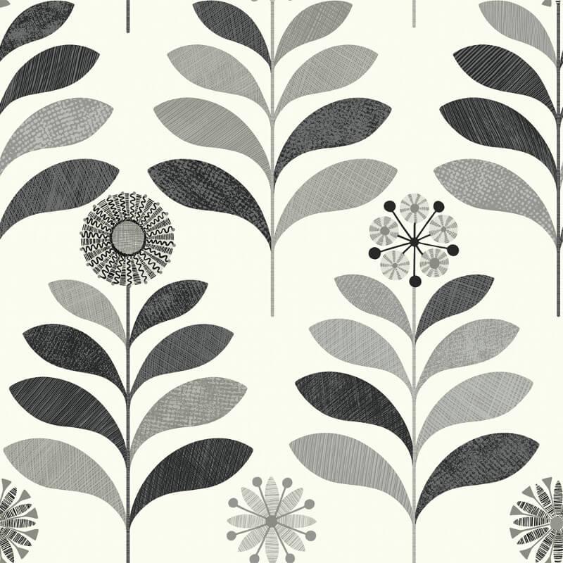 Arthouse Tamara Leaf Black/White Wallpaper - 693300