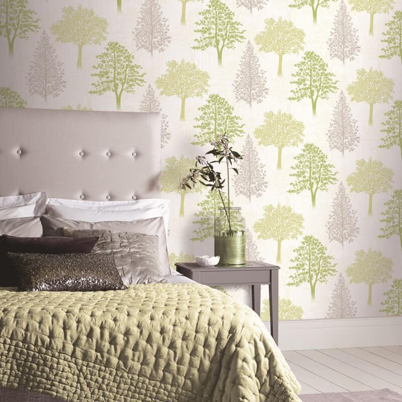 Arthouse Tree Green/Grey Glitter Wallpaper - 259000