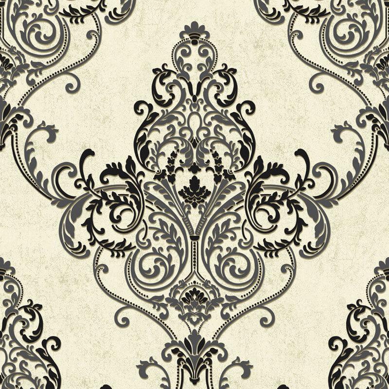 Arthouse Valdina Damask Black/White Glitter Wallpaper - 292000